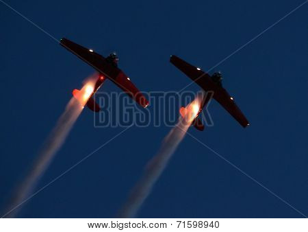 Two Airplanes At Night