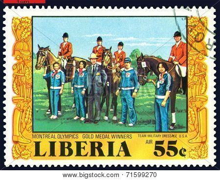 Vintage  Postage Stamp.  Riding. Team Military Dressage.