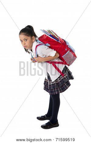 Latin Sweet Little School Girl Carrying Very Heavy Backpack Or Schoolbag Full