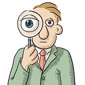 picture of private investigator  - illustration of a character with a magnifying glass - JPG