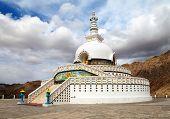 stock photo of jammu kashmir  - Tall Shanti Stupa near Leh  - JPG