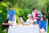 stock photo of retirement age  - Happy big family  - JPG