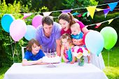 picture of big-girls  - Happy big family with three kids  - JPG