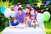 image of big-girls  - Happy big family with three kids  - JPG