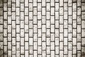 stock photo of cinder block  - Black and white block wall texture for background - JPG
