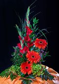 picture of gladiolus  - Autumn Still life with gerbera and gladiolus flowers - JPG