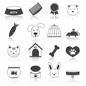 picture of bag-of-dog-food  - Pets icons set black with animal care pictogram isolated vector illustration - JPG