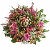 stock photo of chrysanthemum  - chrysanthemum flowers arrangement with artichoke and blackberries - JPG