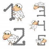 foto of counting sheep  - Design numbers set with funny cartoon sheep - JPG