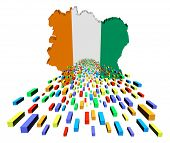 image of ivory  - Ivory Coast map flag with containers illustration - JPG