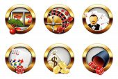 pic of poker machine  - Illustration set of 6 casino and gambling buttons - JPG