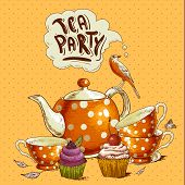 picture of cupcakes  - Tea party invitation card with a Cups - JPG