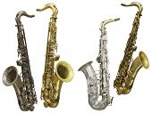 image of saxophones  - The image of a saxophone isolated under a white background - JPG