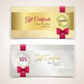 pic of ribbon bow  - Gift cardboard paper holiday certificate set with red bows and ribbons vector illustration - JPG