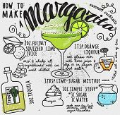 stock photo of ingredient  - Margarita Recipe Typography Poster  - JPG