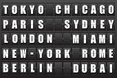 Flight destination, information display board named world cities Tokyo, Chicago, Paris, Sydney, London, New York, Berlin, Dubai, Miami, Roma. Scoreboard airport. Illustration.  poster