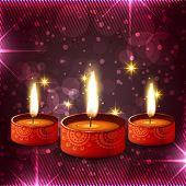 image of diya  - Vector creative colorful diwali diya background - JPG
