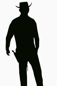 picture of gunfights  - a sillouette of a gunfighter in black - JPG