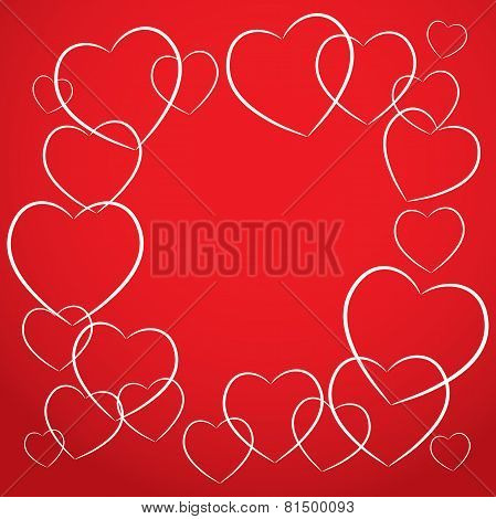 white heart on red background. card desig vector