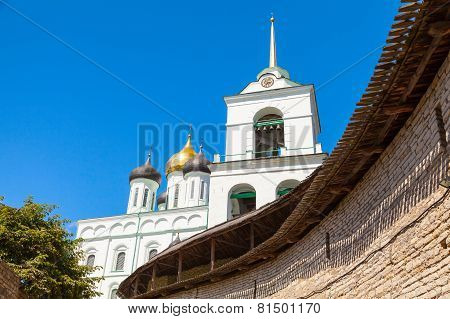 Trinity Cathedral Located Since 1589 In Pskov Kremlin