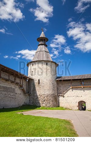 Stone Tower And Walls Of Old Fortress. Kremlin Of Pskov