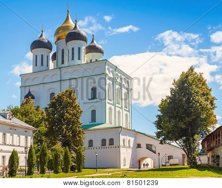 Trinity Cathedral Located Since 1589 In Pskov