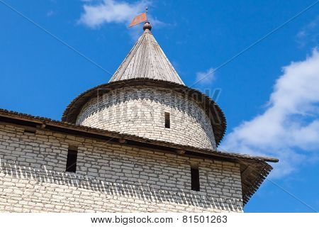 Stone Tower Of Old Fortress. Kremlin Of Pskov