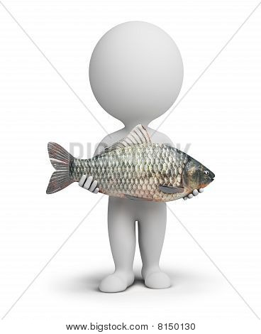 3D Small People - Fisherman And Fish