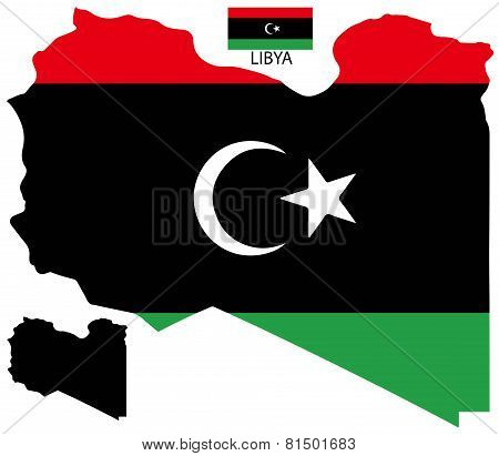 Libya - Map and flag vector