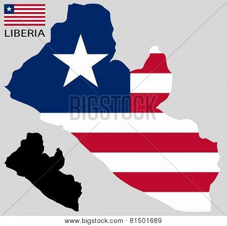 Liberia - Map and flag vector