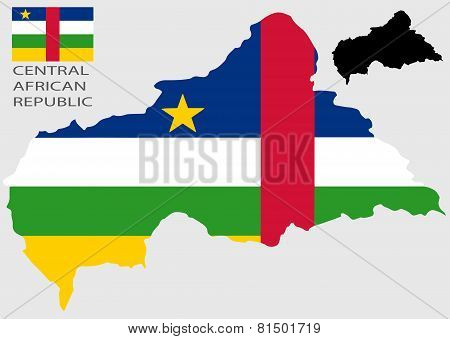 Central African Republic - Map and flag vector