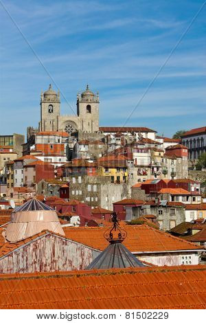 View Of Porto Cathedral And Rooftops