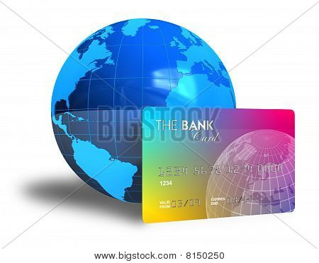 Credit card and Earth globe