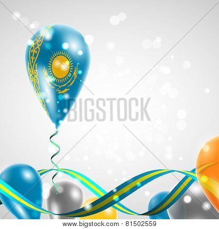 Flag of Kazakhstan on balloon