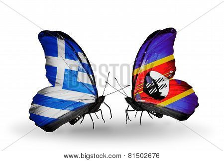 Two Butterflies With Flags On Wings As Symbol Of Relations Greece And Swaziland