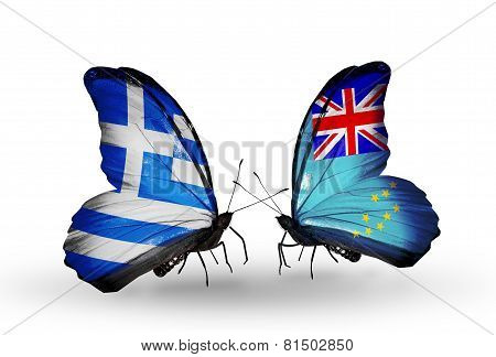 Two Butterflies With Flags On Wings As Symbol Of Relations Greece And Tuvalu