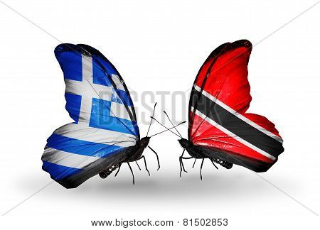 Two Butterflies With Flags On Wings As Symbol Of Relations Greece And Trinidad And Tobago