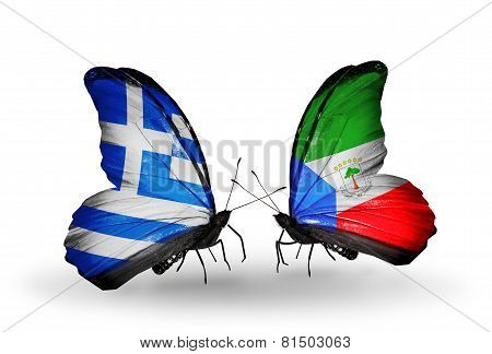 Two Butterflies With Flags On Wings As Symbol Of Relations Greece And Equatorial Guinea