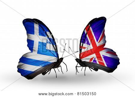 Two Butterflies With Flags On Wings As Symbol Of Relations Greece And Uk