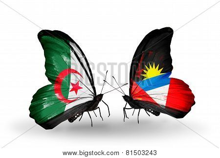 Two Butterflies With Flags On Wings As Symbol Of Relations Algeria And Antigua And Barbuda