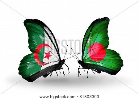 Two Butterflies With Flags On Wings As Symbol Of Relations Algeria And Bangladesh