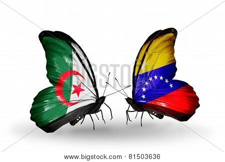 Two Butterflies With Flags On Wings As Symbol Of Relations Algeria And Venezuela
