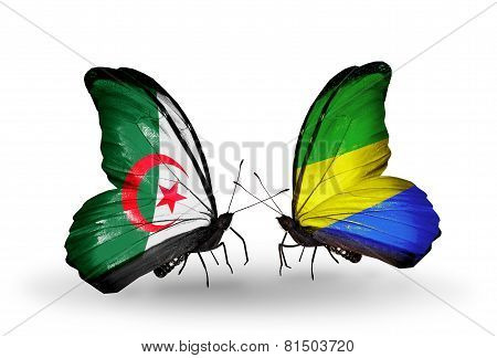 Two Butterflies With Flags On Wings As Symbol Of Relations Algeria And Gabon