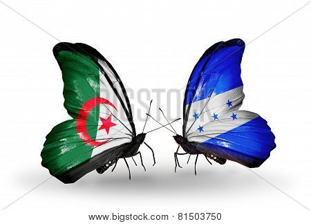 Two Butterflies With Flags On Wings As Symbol Of Relations Algeria And Honduras