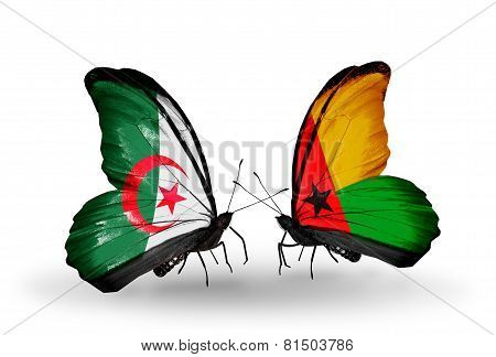 Two Butterflies With Flags On Wings As Symbol Of Relations Algeria And Guinea Bissau