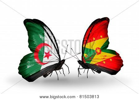 Two Butterflies With Flags On Wings As Symbol Of Relations Algeria And Grenada