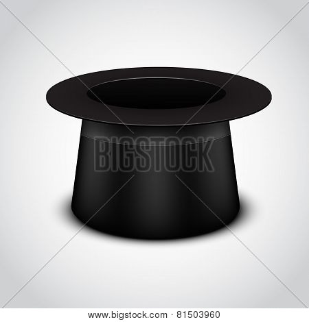 Black cylinder hat on white background