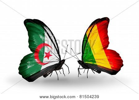Two Butterflies With Flags On Wings As Symbol Of Relations Algeria And Mali
