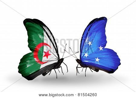 Two Butterflies With Flags On Wings As Symbol Of Relations Algeria And Micronesia