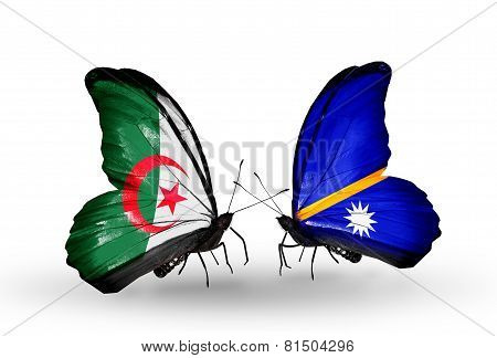 Two Butterflies With Flags On Wings As Symbol Of Relations Algeria And Nauru